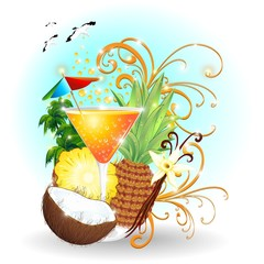 Bibita Succo di Frutta-Pina Colada Fresh Exotic Drink-Vector