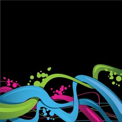 colour vector line with black background