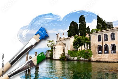 Gemälde eines historischen Gebäudes am Gardasee