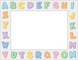 Alphabet Frame, pastel, copy space, school, daycare, education