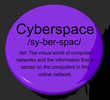 Cyberspace Definition Button Showing Virtual World Of Online Net