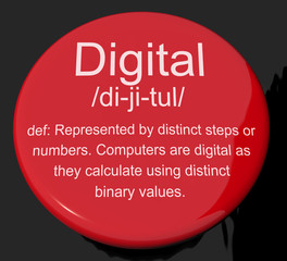 Digital Definition Button Showing Binary Values Used In Computer