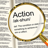 Action Definition Magnifier Showing Acting Or Proactive