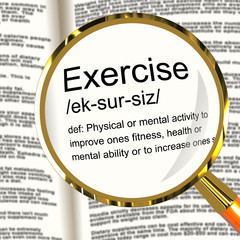 Exercise Definition Magnifier Showing Fitness Activity And Worki