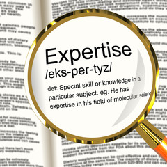 Expertise Definition Magnifier Showing Skills Proficiency And Ca