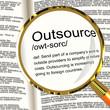 Outsource Definition Magnifier Showing Subcontracting Suppliers