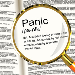 Panic Definition Magnifier Showing Trauma Stress And Hysteria