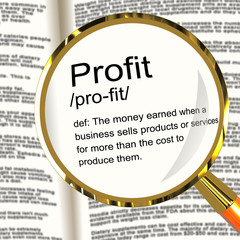 Profit Definition Magnifier Showing Income Earned From Business