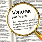 Values Definition Magnifier Showing Principles Virtue And Morali