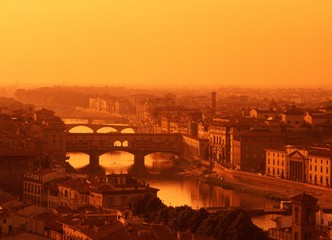 River Arno and skyline at sunset, Florence © Arena Photo UK