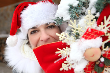 Woman dressed in Santa Claus outfit