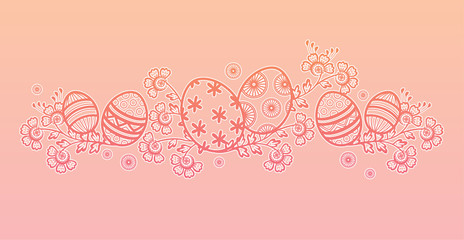 A vector Easter decorative design for a horizontal layout