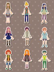 cartoon girl stickers