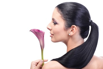 Artistic profile of woman with calla
