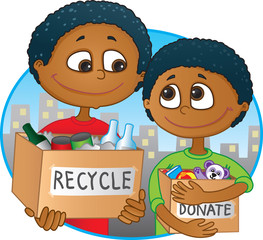 Ethnic Father and son having fun recycling and donating
