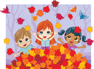 Three mixed race kids playing in a pile of colorful Fall leaves