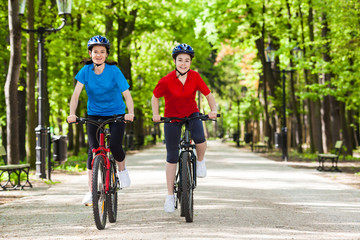 Girls riding bikes
