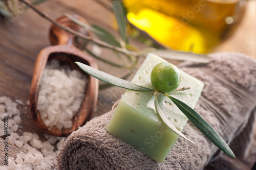 Natural spa setting with olive oil.