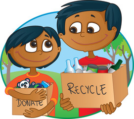 Indian Father and son having fun recycling and donating