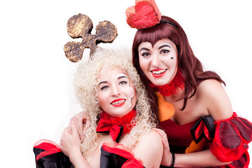 two queen of hearts and clubs
