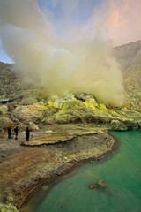 Extracting sulphur inside Kawah Ijen crater, Indonesia