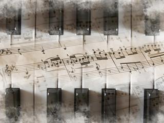 Piano, teclas, partitura, notas musicales