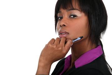 Smart businesswoman thinking