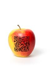 Apfel mit QR Code