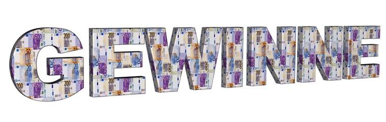 3D Geldschrift - GEWINNE