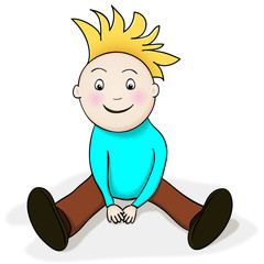 Happy sitting boy cartoon character, watching with amazement