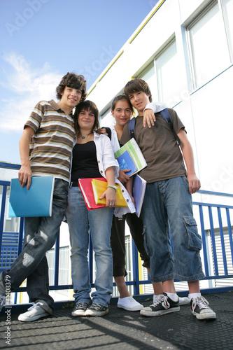 School friends outside