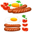Fried eggs, sausage and tomato