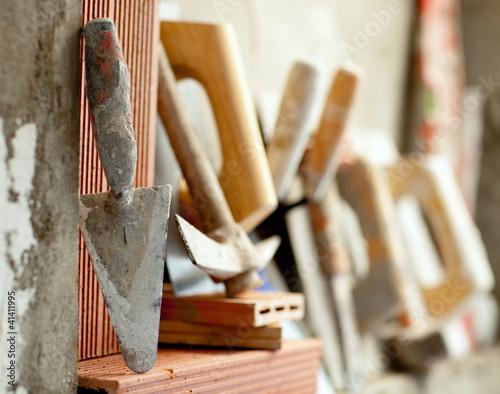 Poster Construction mason cement mortar tools