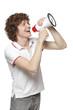 Happy man making announcement over megaphone