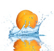 Apricot falling into water, isolated on white background