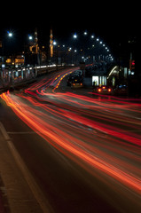 Galata bridge with car light trails