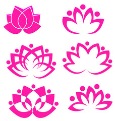 Set of pink lotus flowers logo vectors