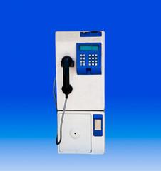 The Public phone isolated blue background