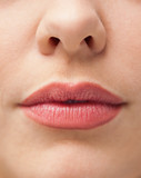 Close-up of lips with make-up on them