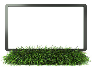Monitor on grass with white background