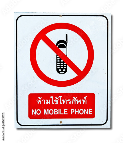The Sign of No Mobile Phone isolated on white background