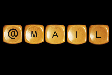 Grunge typewriter keyboard play on  mail words . Isolated on a b