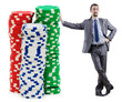 Businessman and casino chips on white