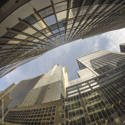 Fisheye upward view of New York City Skyscrapers