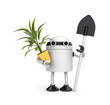 Robot holding pot with flower and shovel