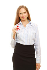 A young woman with an aids ribbon, isolated on white