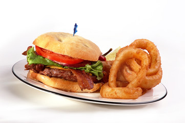Bacon burger & Onion Rings