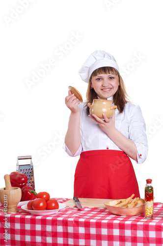 attractive woman cooking