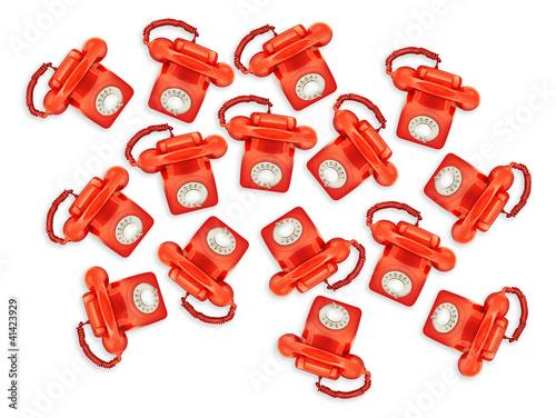 red retro phones above