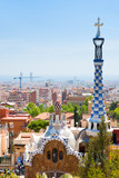 Fototapeta panorama of Barcelona city from Park Guell